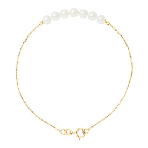 Mitzuko Yellow Gold/White Tahitian Stle Real Cultured Freshwater Pearls Bracelet