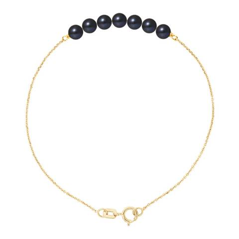Mitzuko Yellow Gold/Black Tahitian Stle Real Cultured Freshwater Pearls Bracelet