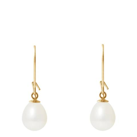 Mitzuko White Tahitian Style Yellow Gold Freshwater Pearl Earrings