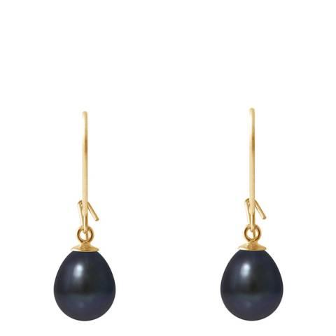 Mitzuko Black Tahitian Style Yellow Gold Freshwater Pearl Earrings