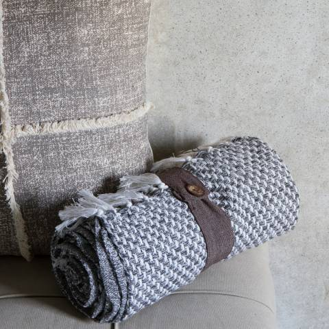 Gallery Grey Recycled Cotton Cubic Throw 130x170cm