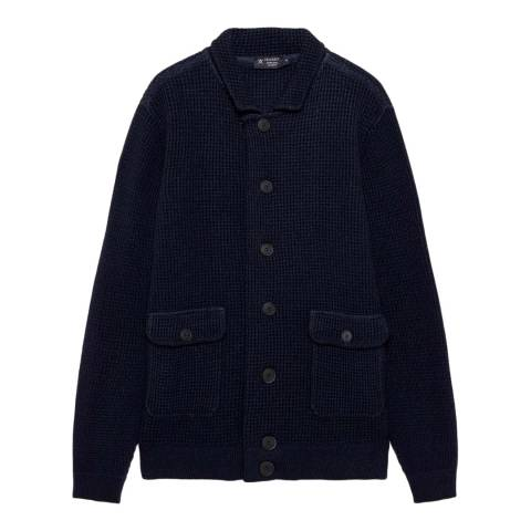Hackett London Navy Waffle Buttoned Wool Jacket
