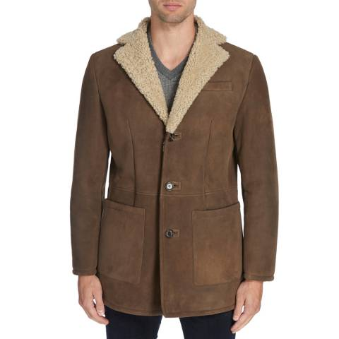 Hackett London Camel Shearling Coat