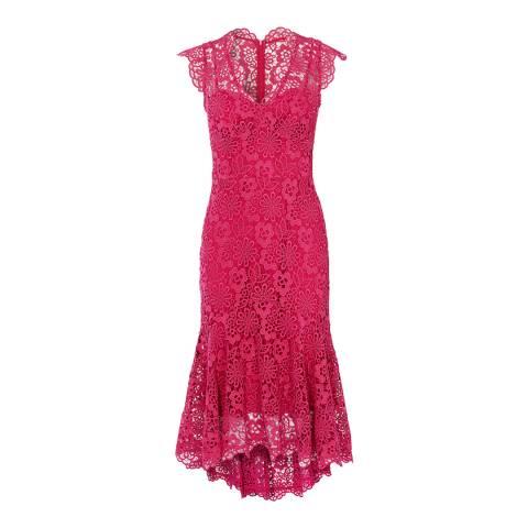 Karen Millen Pink Peplum Hem Lace Dress