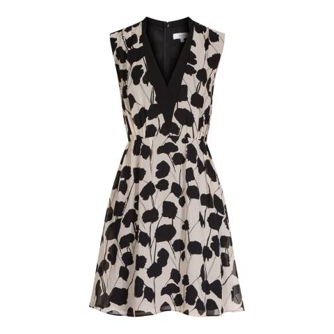 Reiss Neutral/Black Cate Printed Dress