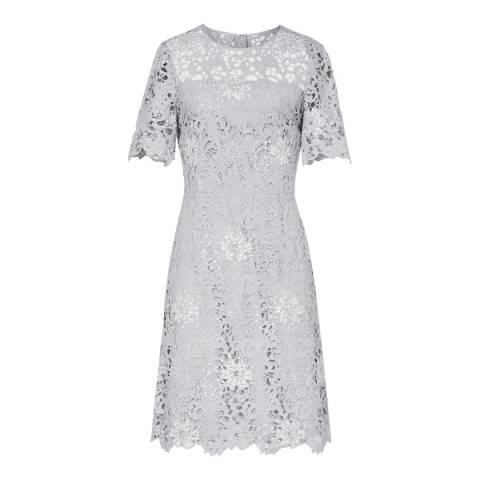 Reiss Blue Lina Lace A Line Dress