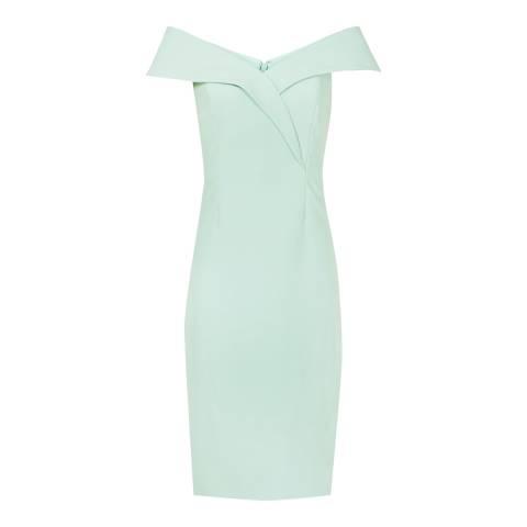Reiss Green Haddi Off Shoulder Dress