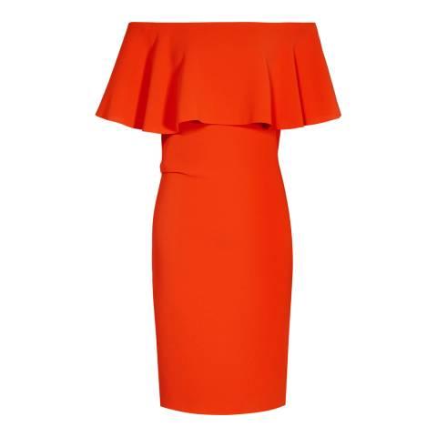 Reiss Red Balm Off Shoulder Dress