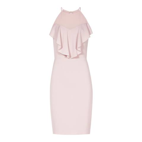 Reiss Pink River Ruffle Front Dress