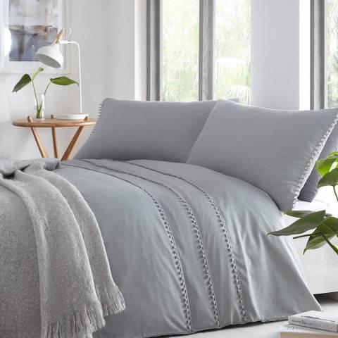 Serene Tassel Single Duvet Cover Set, Grey