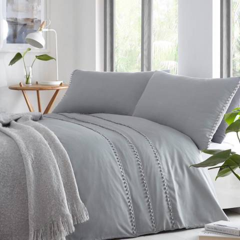 Serene Tassel Double Duvet Cover Set, Grey