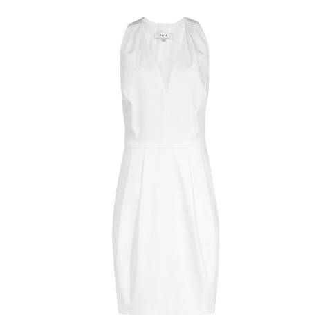 Reiss Off White Rakele Cotton Satin Dress