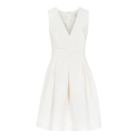Reiss Off White Winola Textured Dress