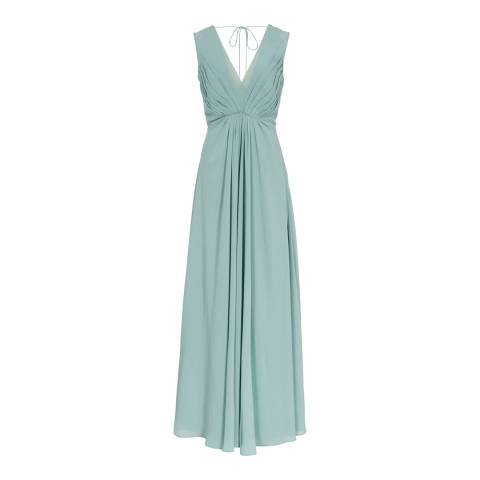 Reiss Green Evie Pleated Maxi Dress