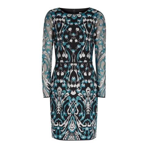 Reiss Green/Blue Alianna Graphic Lace Dress
