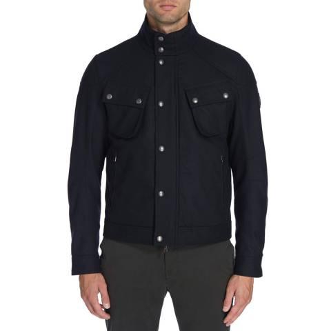 Hackett London Navy Wool Blend Short Velo Jacket
