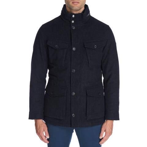 Hackett London Navy Mini Grid Wool Jacket