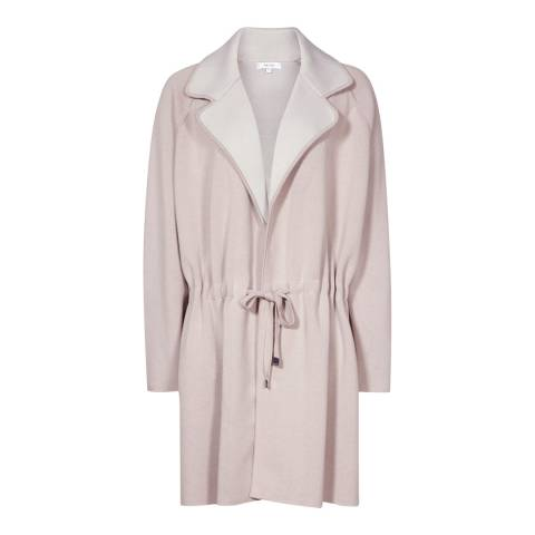 Reiss Light Pink Nelwyn Belted Knitted Cardigan