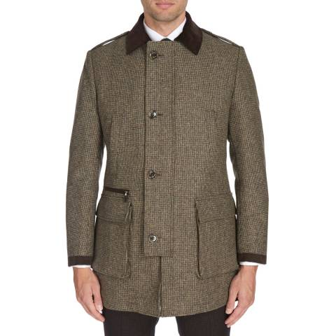 Hackett London Brown/Green Country Top Coat