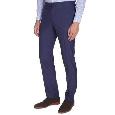 Hackett London Blue Plain Wool Trousers