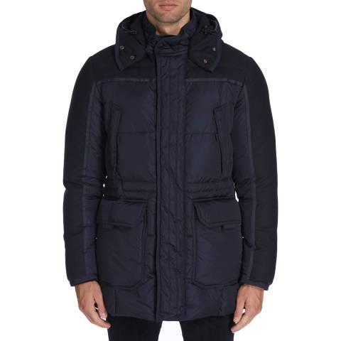 Hackett London Navy Contrast Down Parka Coat