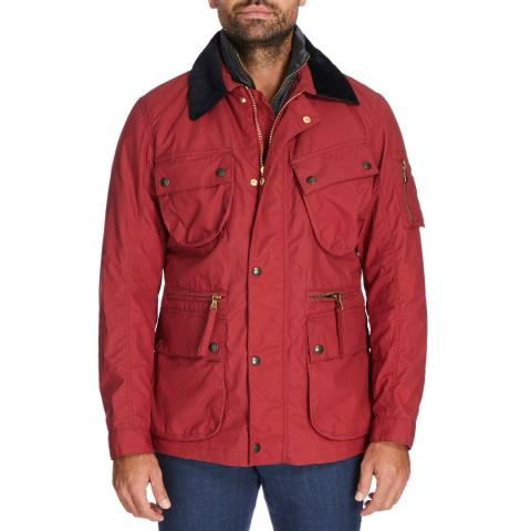 Hackett London Red Cadwell Waxed Jacket