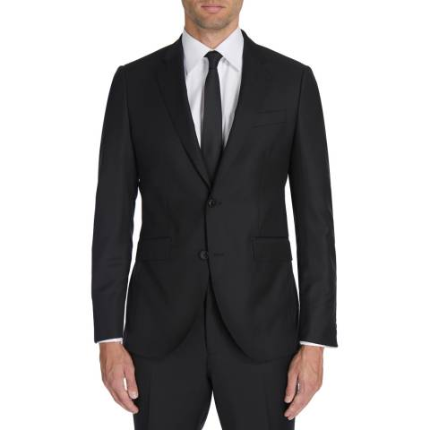 Hackett London Black Plain Wool Twill Suit Jacket