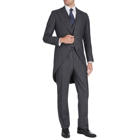 Hackett London Dark Grey 3 Piece Morning Wool Suit