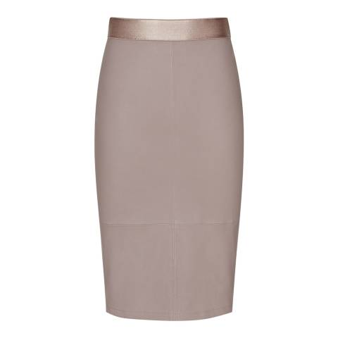 Reiss Mink Megan Stretch Leather Pencil Skirt