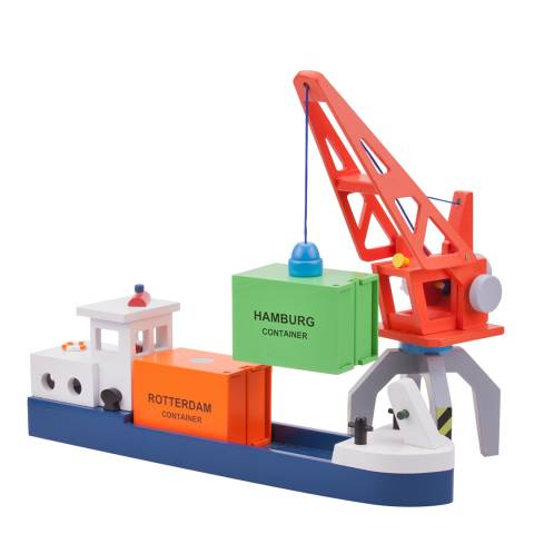 New Classic Toys Barge With Two Containers Toy