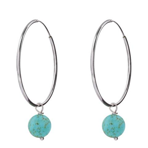 Alexa by Liv Oliver Turquoise/Silver Pearl Hoop Earrings