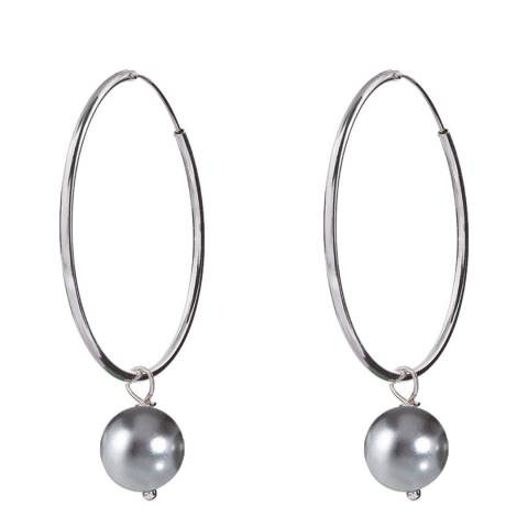 Alexa by Liv Oliver Grey/Sterling Silver Pearl Hoop Earrings