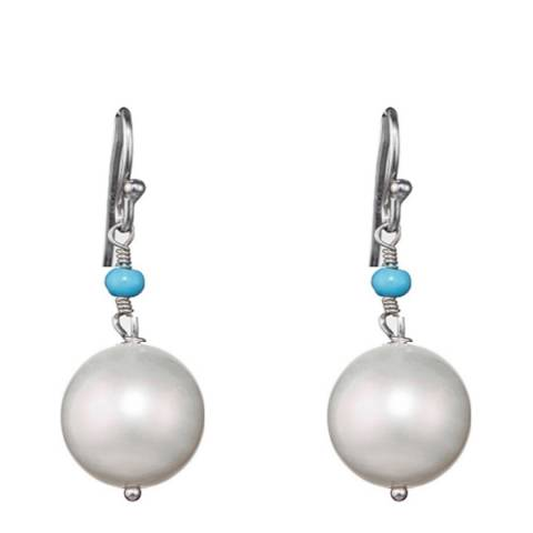 Alexa by Liv Oliver Turquoise/Sterling Silver Pearl Drop Earrings