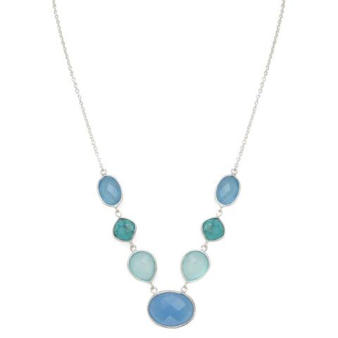 Alexa by Liv Oliver Blue/Turquoise/Sea Green Sterling Silver Multi Shape Chalcedony Necklace
