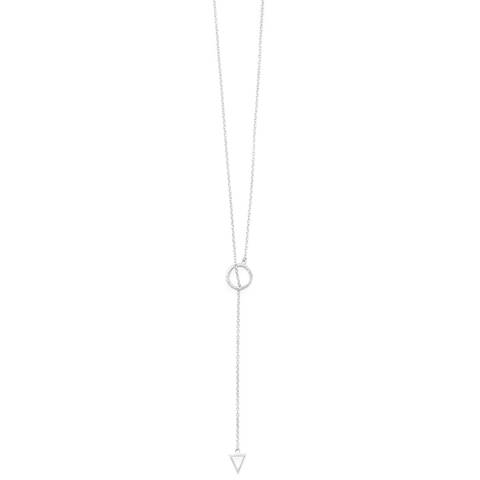 Alexa by Liv Oliver Sterling Silver Lariat Multi Shape Necklace