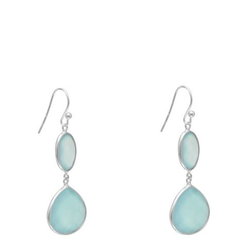 Alexa by Liv Oliver Sea Green Sterling Silver Chalcedony Oval and Pear Shape Drop Earrings