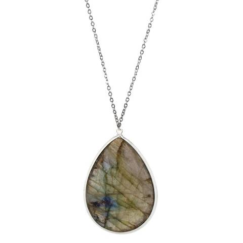 Alexa by Liv Oliver Grey Sterling Silver Pear Shape Labradorite Necklace