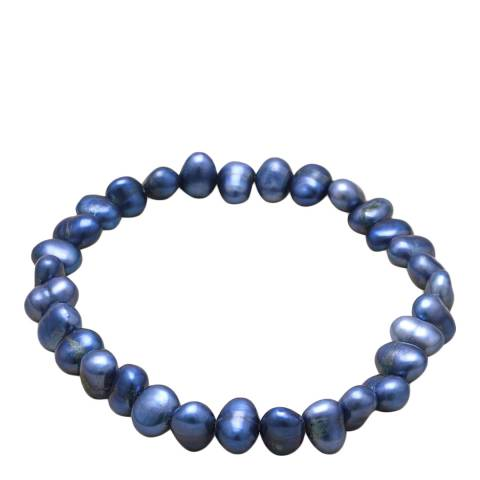 Alexa by Liv Oliver Blue Grey Freshwater Pearl Strech Bracelet