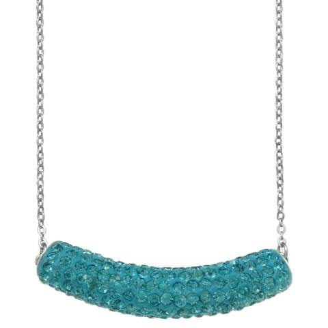 Alexa by Liv Oliver Bar Blue Sterling Silver Crystal Necklace