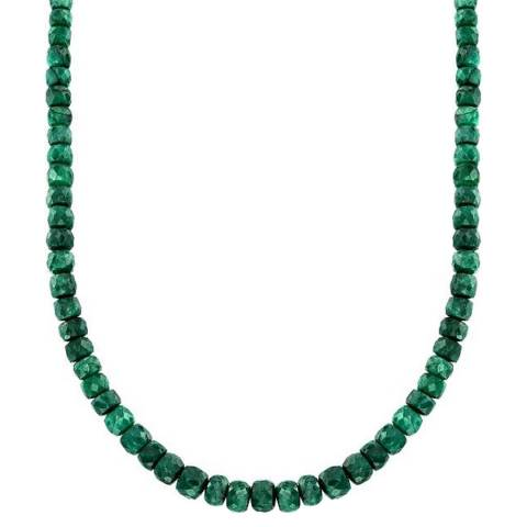 Alexa by Liv Oliver Green Saphire Faceted Silver plated Necklace