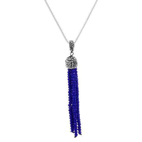 Alexa by Liv Oliver Blue Crystal and Zirconia Gemstone Tassle Silver Necklace