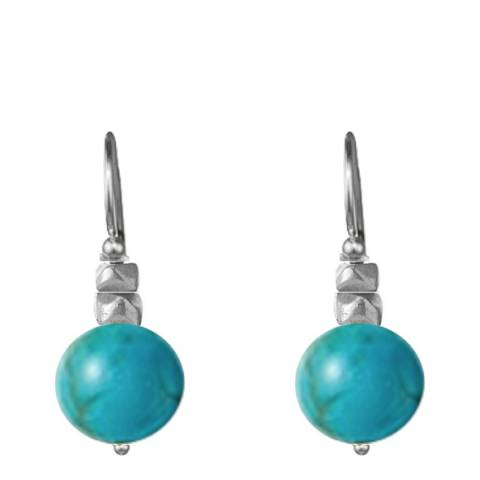 Alexa by Liv Oliver Turquoise/Sterling Silver Studded Drop Earrings