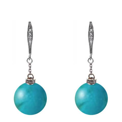 Alexa by Liv Oliver Turquoise/Sterling Silver Cubic Zirconia Drop Earring
