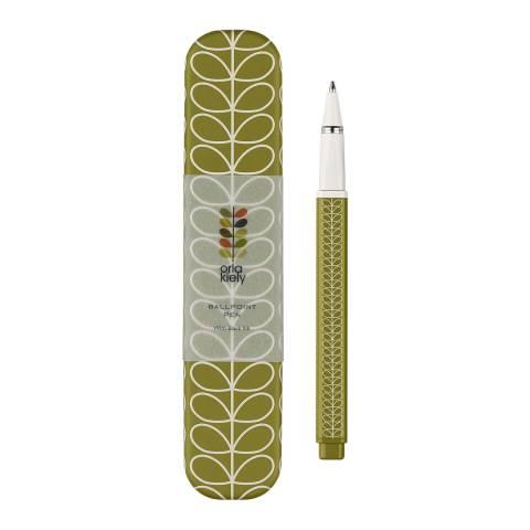 Orla Kiely Green Seagrass Linear Stem Metal Ballpoint Pen