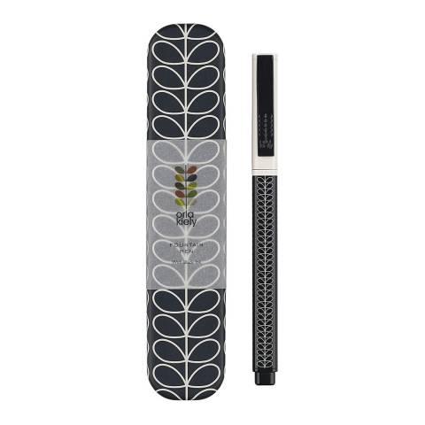 Orla Kiely Navy Linear Stem Metal Fountain Pen