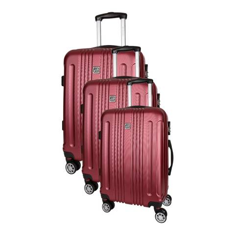 Platinium Bordeaux Stafford Set of Three 8 Wheeled Suitcases S/M/L