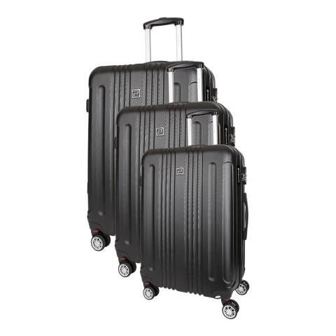 Platinium Black Stafford Set of Three 8 Wheeled Suitcases S/M/L