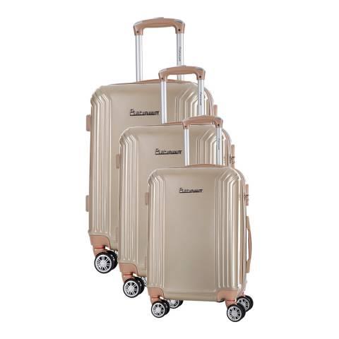 Platinium Beige Valley Set of Three 8 Wheeled Suitcases S/M/L