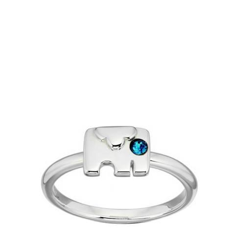 Orla Kiely Blue Montana Swarovski Sterling Silver Elephant Ring