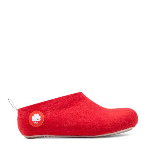 BAABUK Unisex Red Wool Gus Slippers